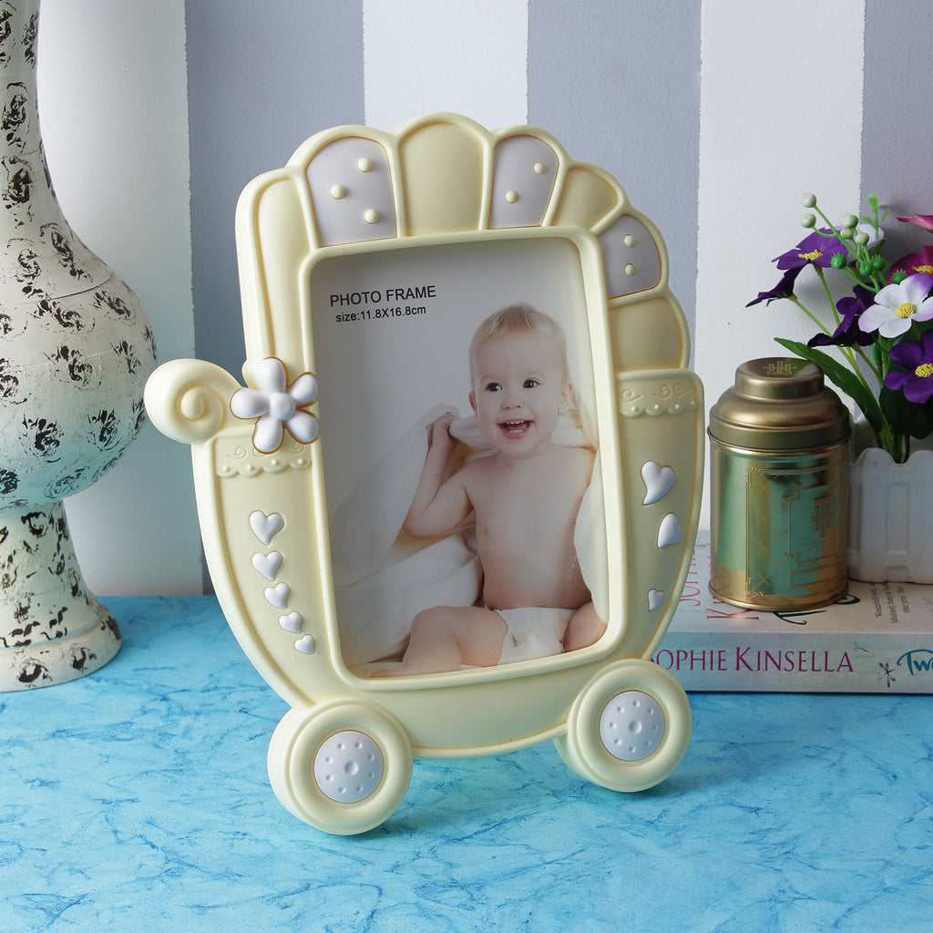 Baby Carriage Photo Frame - Yellow