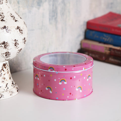 Round Pink rainbow unicorn metal tin box