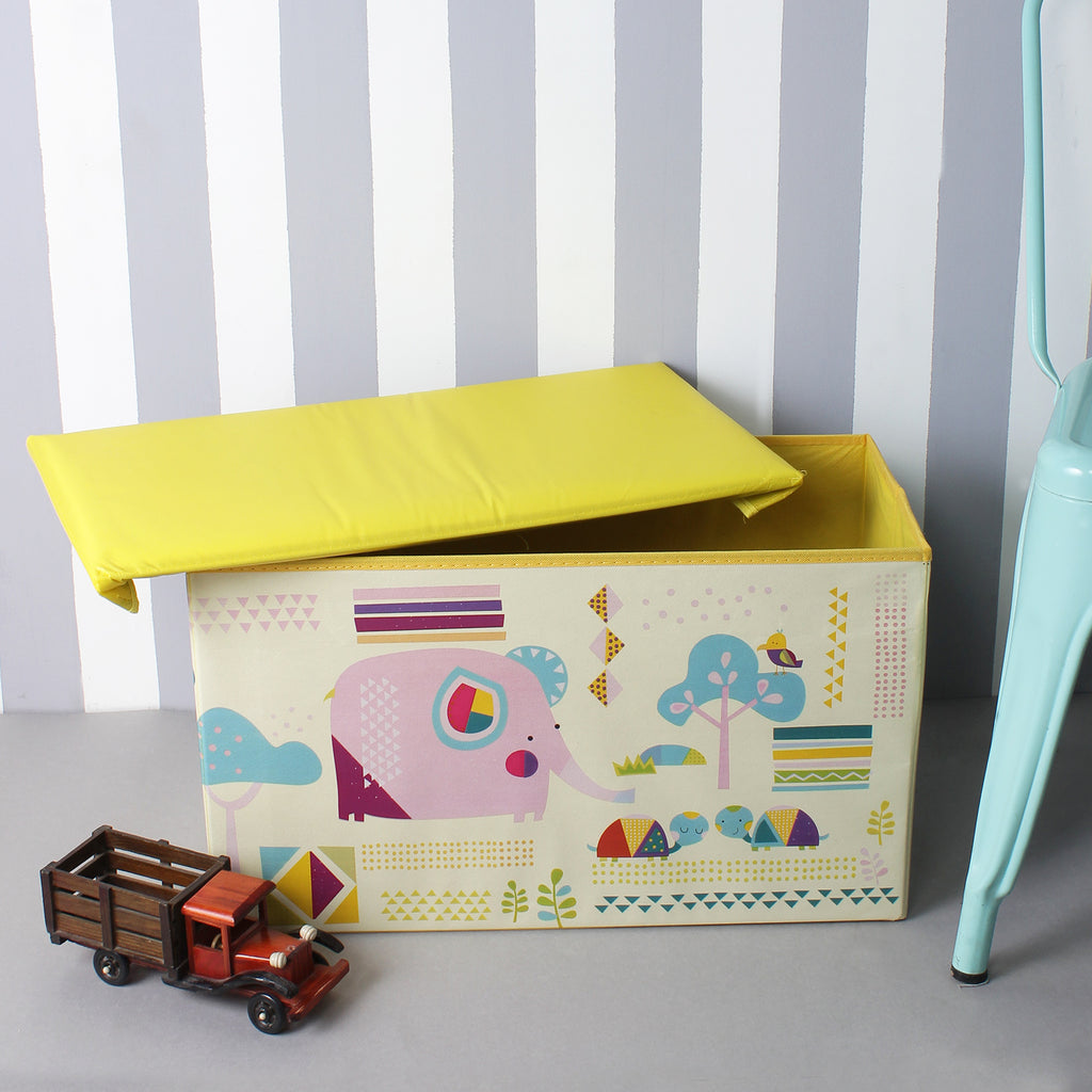 Cute Elephant Foldable Yellow Storage Box