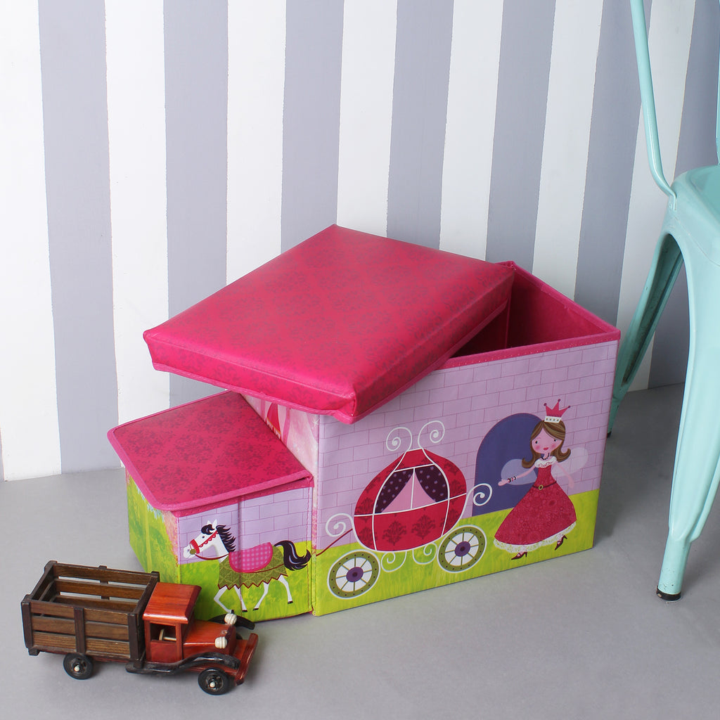 Princess Carriage Foldable Pink Storage Box