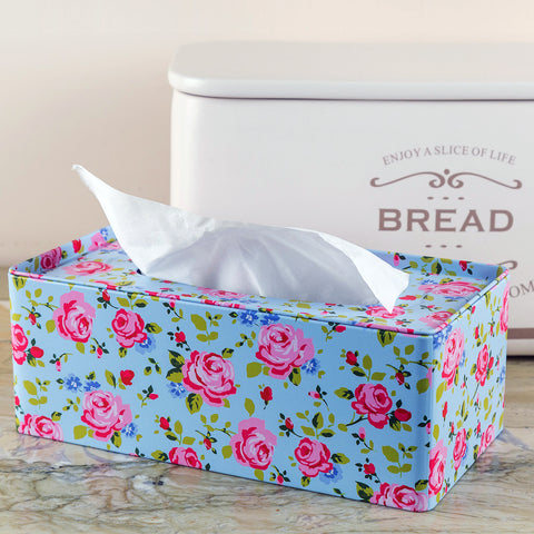 Blue Floral Design Tissue Box