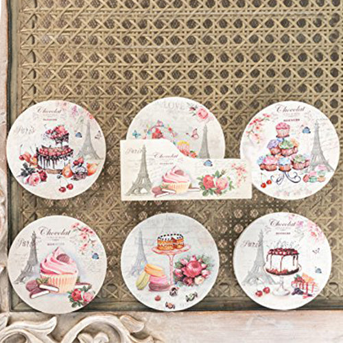 Paris Cupcake Design Coasters (Set Of 6)