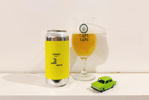 Verdant Brewing Fruit Car Sight Exhibition single-hop Citra DIPA in a Caps and Taps glass. The beer is a very hazy orange colour.