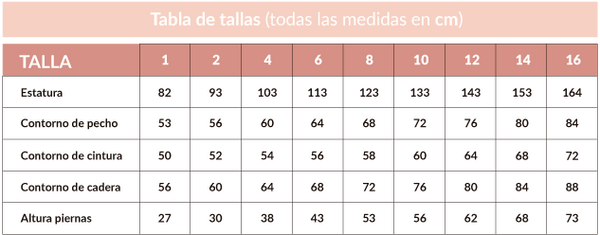 tabla de tallas salbakids