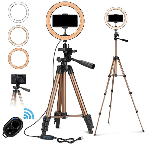 10'' LED Selfie Ring Light with 50'' Tripod Stand & Phone Holder for Makeup Live Stream with Remote Shu