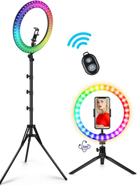 LED 10 Colour Mode Dimmable Selfie Ring Light with Bluetooth Remote Tripod USB TikTok Youtube Live Vlogging