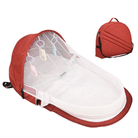 Foldable Portable Baby Bed Cot Sun Protection Mosquito Net Bag