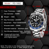 Luxury Mechanical Wristwatch Stainless Steel GMT Watch