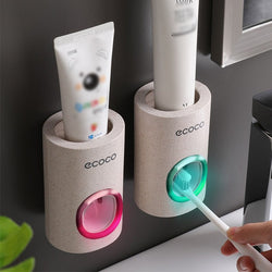 Automatic Toothpaste Dispenser Dust-proof Toothbrush Holder Wall Mount