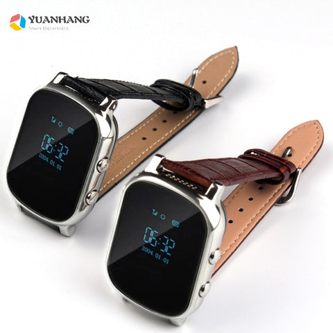 T58 Smart GPS WIFI Tracker Locator Anti-Lost SOS Call Remote Monitor Genuine Leather Strap Smartwatch