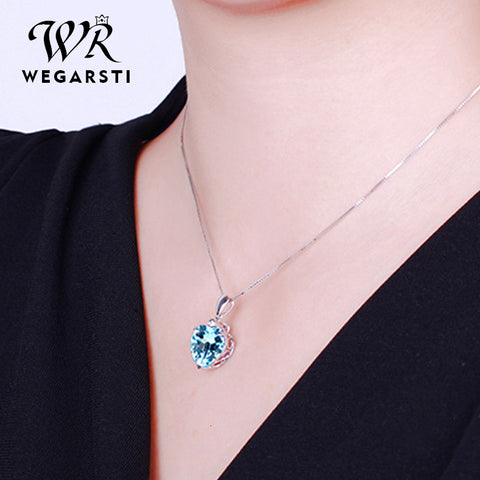 100% Sterling Silver 925 Sapphire Pendant Necklace