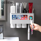 GESEW Magnetic Adsorption Inverted Toothbrush Holder Automatic Toothpaste Squeezer Dispenser Storage Rack Bathroom Accessories