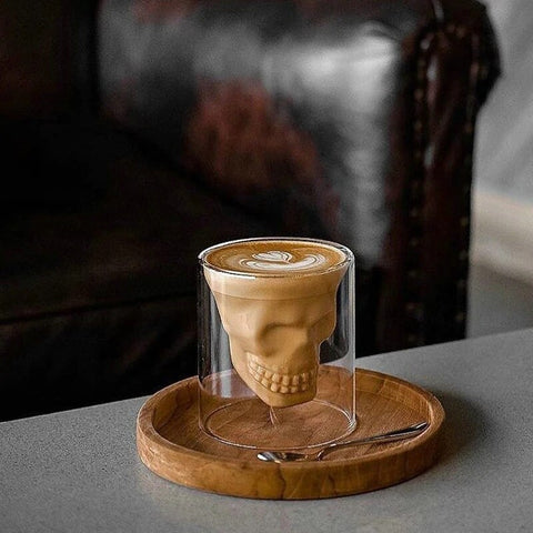 Skull Wine Glass Mug Latte Coffee Whiskey Transparent Glass Cup Vodka Drinking Bar Club Wine Glass