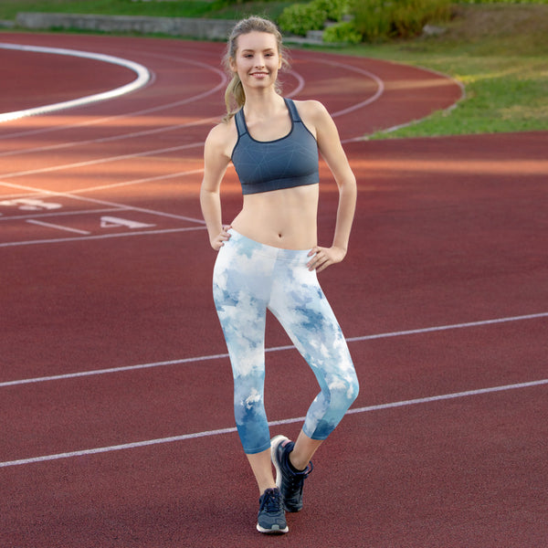 High Waisted Capri Yoga Leggings - SKY