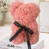 Handmade Rose Bear with Ribbon Gift 25cm