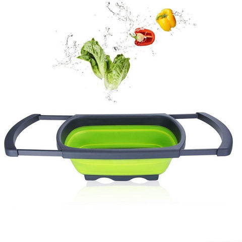 Silicone Collapsible Over The Sink Retractable Colander