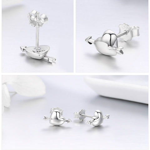 100% Authentic Sterling Silver Fall in Love Heart Small Stud Earrings