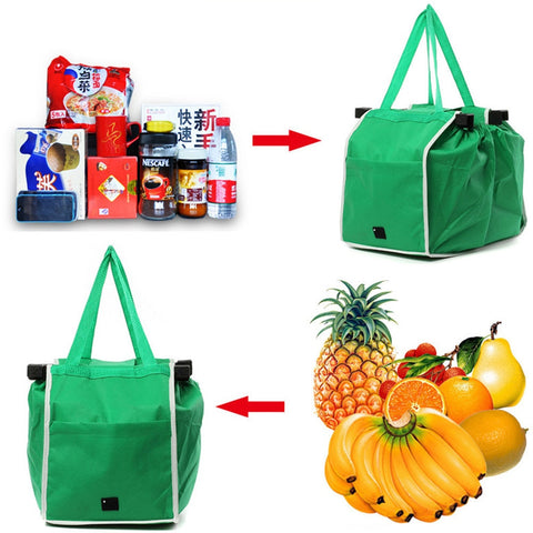 Reusable Large Trolley Clip-To-Cart Grocery Supermarket Shopping Bags Contact Free