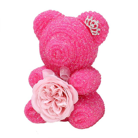 Rhinestone Foam Bear With Austin Rose Soap Flower For Valentine Gift Box Birthday Gift Surprise 20CM Artificial Decorations