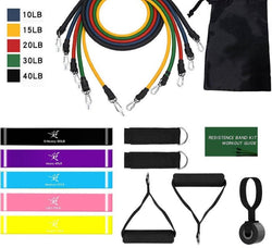 11 Pcs / 17 Pcs Fitness Resistance Bands Set Home Gyms Workout