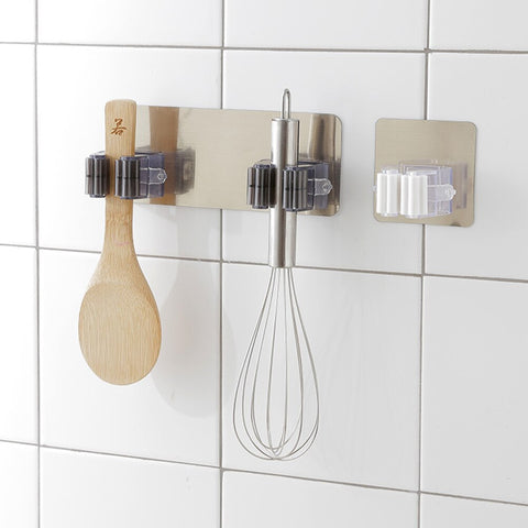 1pc Self Adhesive Wall Mounted Kitchen Mop Broom Organizer Hook Holder