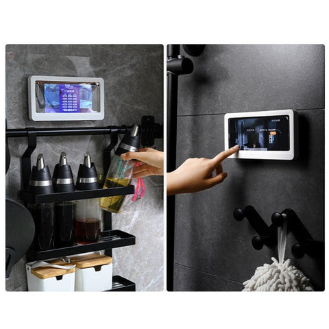 Wall-mounted Waterproof Anti Fog Phone Case Holder for Bathroom Shower Gym Room