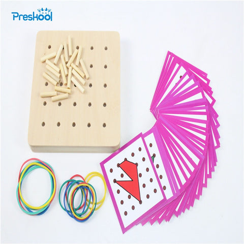 Montessori Creative Graphics Rubber Tie Nail Boards Education Toy