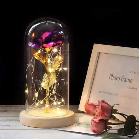 Beauty and the Beast Rose in Glass Dome with LED Lights