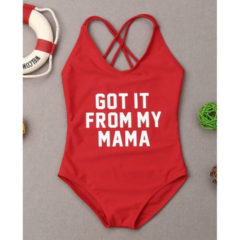 Mother & Daughter Swimsuit Matching Beachwear Swim Costume