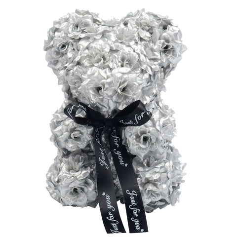 Brand New 2020 Handmade Gold Silver Rose Bear in a Gift Box