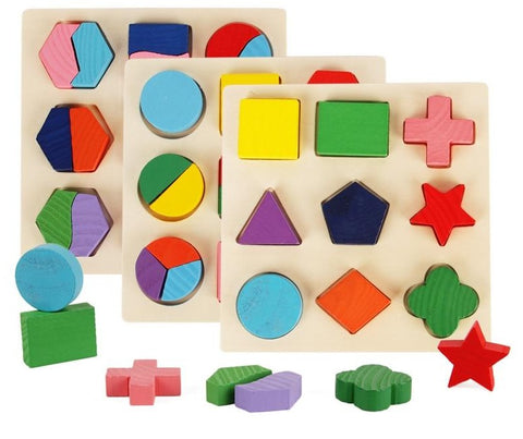 N-Tsi Wooden Geometric Shapes Montessori Puzzle Preschool Learning Educational Game