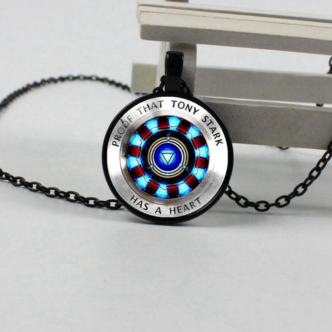 The Avengers Infinity War Time Gem Necklace Glass Cabochon Iron Man Necklace Captain Heart Tony Stark