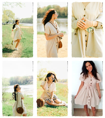 Vintage Button Cotton Linen Dress