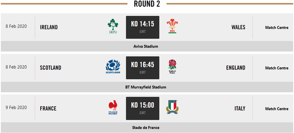 Guinness 6 Nations fixtures
