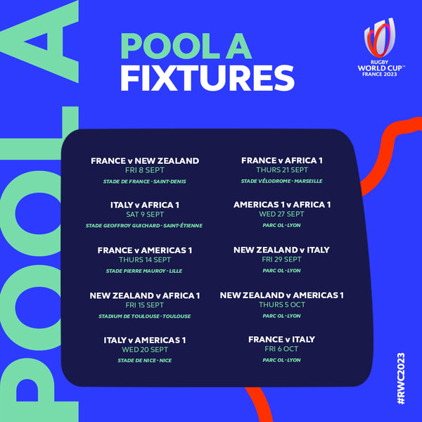 Rugby World Cup Pool A fixtures