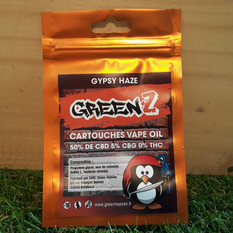 Green'Z vape oil 50% CBD/5% CBG goût Gypsy Haze - Green Heaven - CBD 0%THC