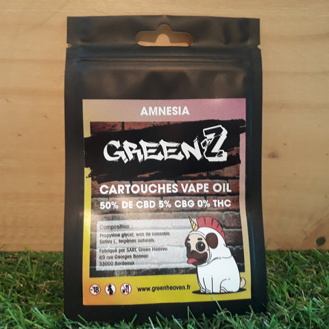 Green'Z vape oil 50% CBD/5% CBG goût Amnesia - Green Heaven | CBD Bordeaux