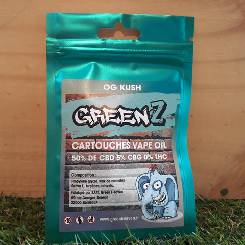 Green'Z vape oil 50% CBD/5% CBG goût OG Kush - Green Heaven | CBD Bordeaux