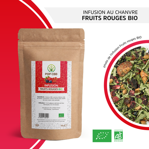 "Infusion bio chanvre ""Fruits rouges"" Pop CBD - Green Heaven 