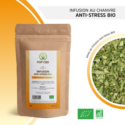 "Infusion bio chanvre ""Anti-stress"" Pop CBD - Green Heaven - CBD 0%THC"