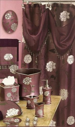 Avantie Purple Shower Curtain with Valance - Shower Hooks