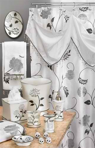 Avantie White Shower Curtain with Valance - Contour