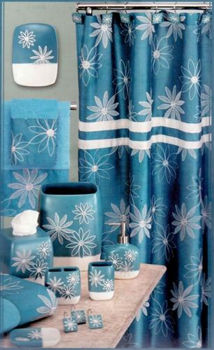 Daisy Stitch Shower Curtain Turquoise - Shower Curtain