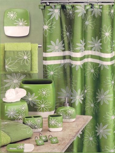 Daisy Stitch Shower Curtain Lime - Shower Curtain