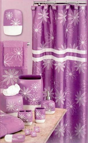 Daisy Stitch Shower Curtain Lilac - Shower Curtain