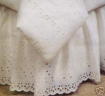 Elegant Eyelet Bed Skirt - White - Twin
