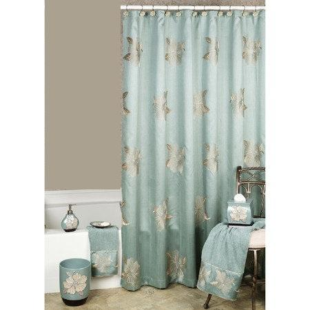 Flower Blossom Aqua Shower Curtain - Shower Curtain