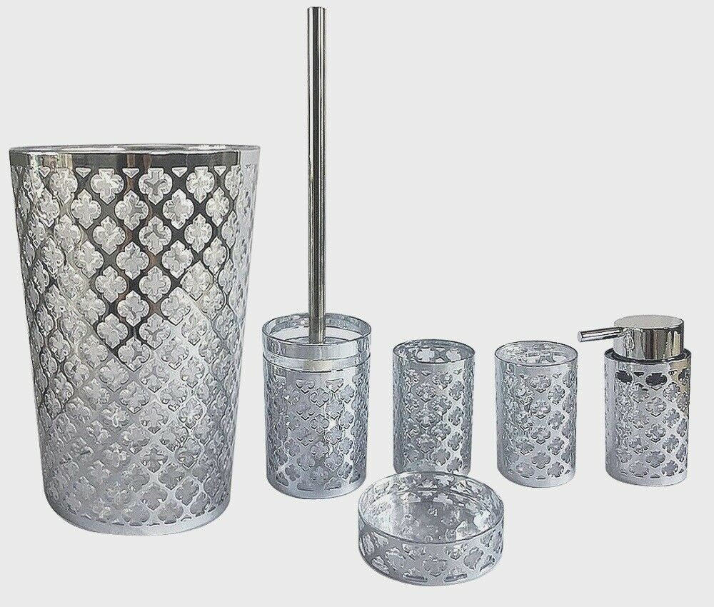 Royal Trellis Silver Chrome 7 PC Bath Accessory Set
