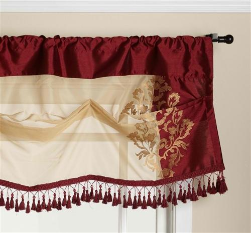 Danbury Embroidered Valance Burgundy and Gold - Valance