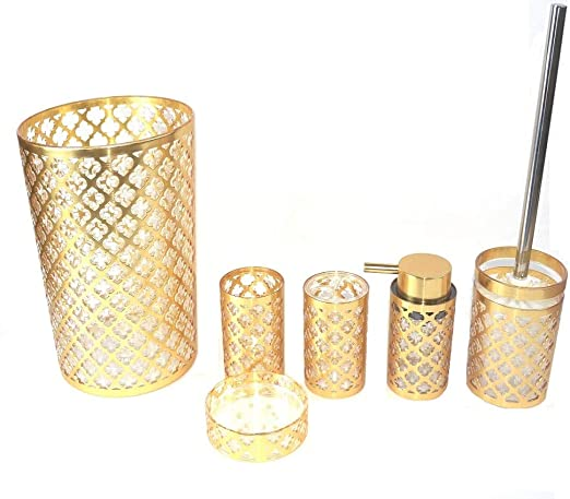 Royal Trellis Gold 7 PC Bath Accessory Set